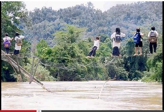 Image result for images of poverty in sarawak going to school in man made rope
